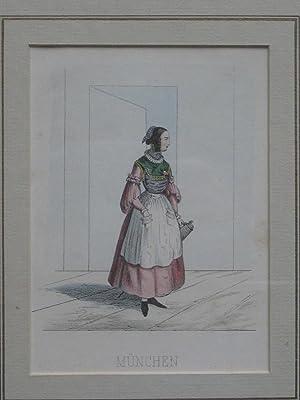 Mädchen in der Münchner Tracht. Kolorierte Lithographie.