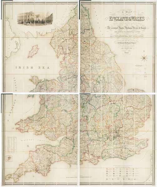 A Map of England & Wales Divided into Counties, Parliamentary Divisions & Dioceses shewing the principal Roads, Railways, Rivers and Canals and Seats of the Nobility and Gentry with the Distance of Each Town from the General Post Office, London. Projected