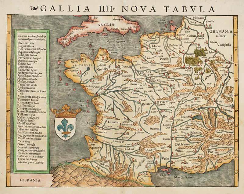 Gallia IIII Nova Tabula.: MUNSTER, Sebastian.