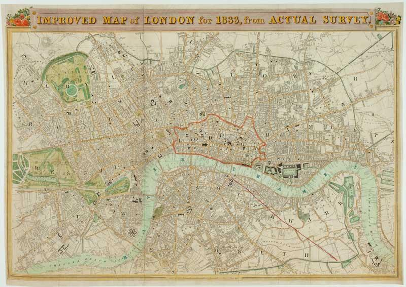 Detailed Map Of London.Improved Map Of London For 1833 From Actual