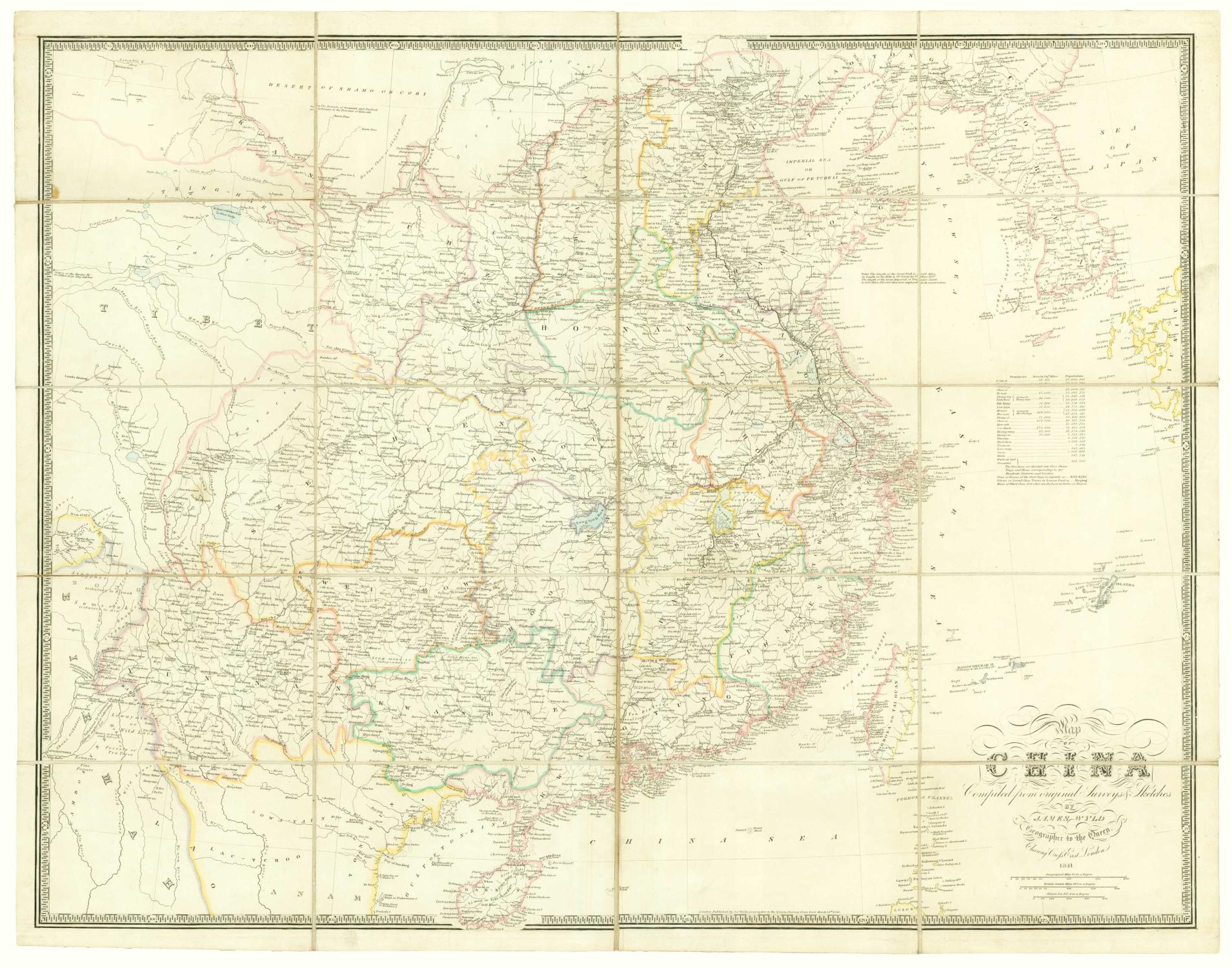 Map of China Compiled from original Surveys: WYLD, James.