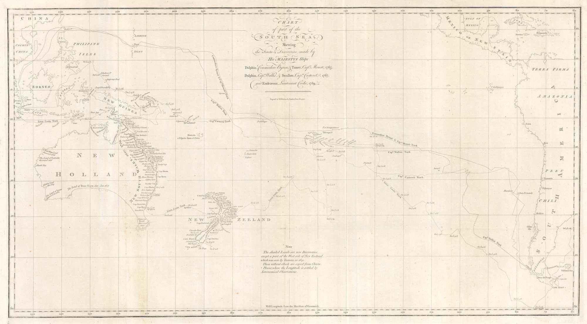 Chart of part of the South Sea,: COOK, Captain James.