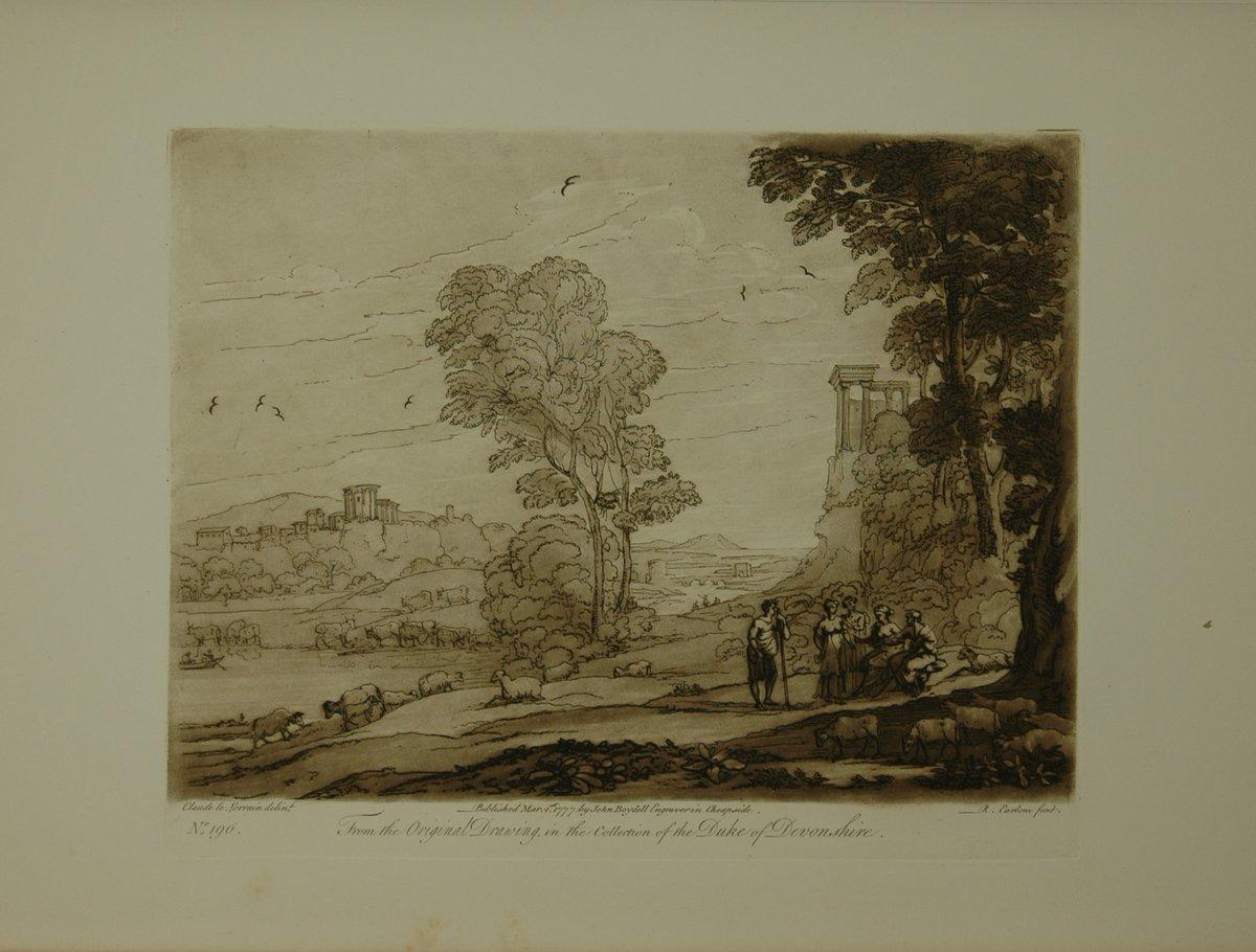 Landscape. From the original drawing in the collection of the Duke of Devonshire: A Shepard and a Shepardess in conversation, they are seated on a ba
