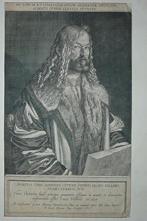 Portrait. Halbfigur in pelzbesetztem Mantel nach rechts,: Dürer, Albrecht (1471-1528):