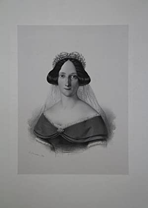 Porträt Portrait. Brustfigur en face mit Krone: Alexandrine von Baden