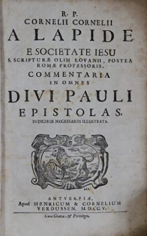 R.P. Cornelii Cornelii a Lapide e Societate: Lapide, Cornelius (d.i.