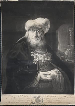 A Jew Rabbi. Mezzotint from William Pether after Rembrandt. Half-length, directed slightly to the...
