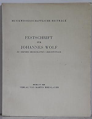 Festschrift für Johannes Wolf zu seinem sechzigsten