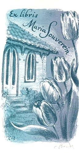 Exlibris für Maria Souverein. Haus mit Tulpen.: Bouda, Cyril (1901-1984).