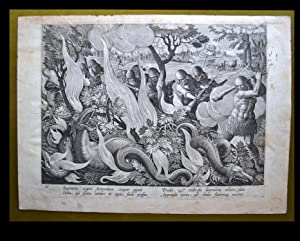 ANTIQUE ORIGINAL PRINT .- HUNTING .- SERPENT ( DRAGON ) ( BESTIARUM )