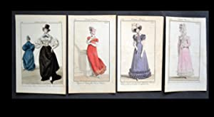 COSTUME PARISIEN .- 4 Original Copper Engravings .-