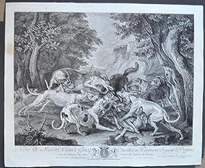 CHASSE AU LOUP .- CHASSE DU SANGLIER ( 2 Gravures ): DESPORTES , François -JOULLAIN François