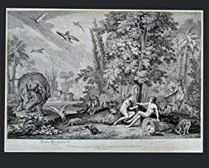 PARADISE SCENES . Eve presents Adam with the apple / and Adam Dit : j' Ai .( 2 Original Prints )