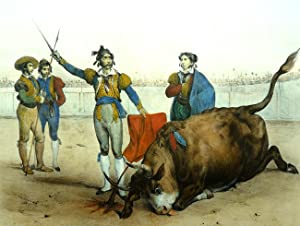 COMBAT DU TAUREAU. Le Taureau tombe d' un coup d' estocade . El Toro cae por tierra despu...