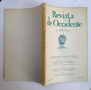 REVISTA DE OCCIDENTE n 84. Martin Heidegger. Octogenario; Primer Encuentro Con La Filosofía;...