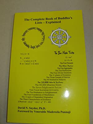 Complete Book of Buddha's Lists--Explained: Snyder, David N. Ph.D.