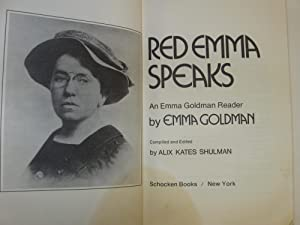 Red Emma Speaks; Emma Goldman Reader: (First Edition): Goldman, Emma; (Compiled & Edited by Alix ...