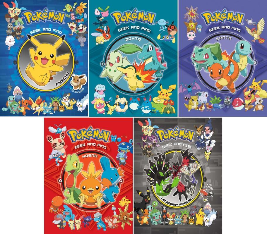 Pokemon SEEK AND FIND 1-5 HC New Pokemon Seek and Find - Kanto; Pokemon Seek and Find - Pikachu; Pokemon Seek and Find - Hoenn; Pokemon Seek and Find - Johto: Joht; Pokemon Seek and F