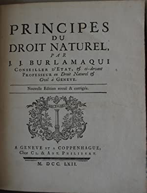 Principes du Droit Naturel: J J Burlamaqui