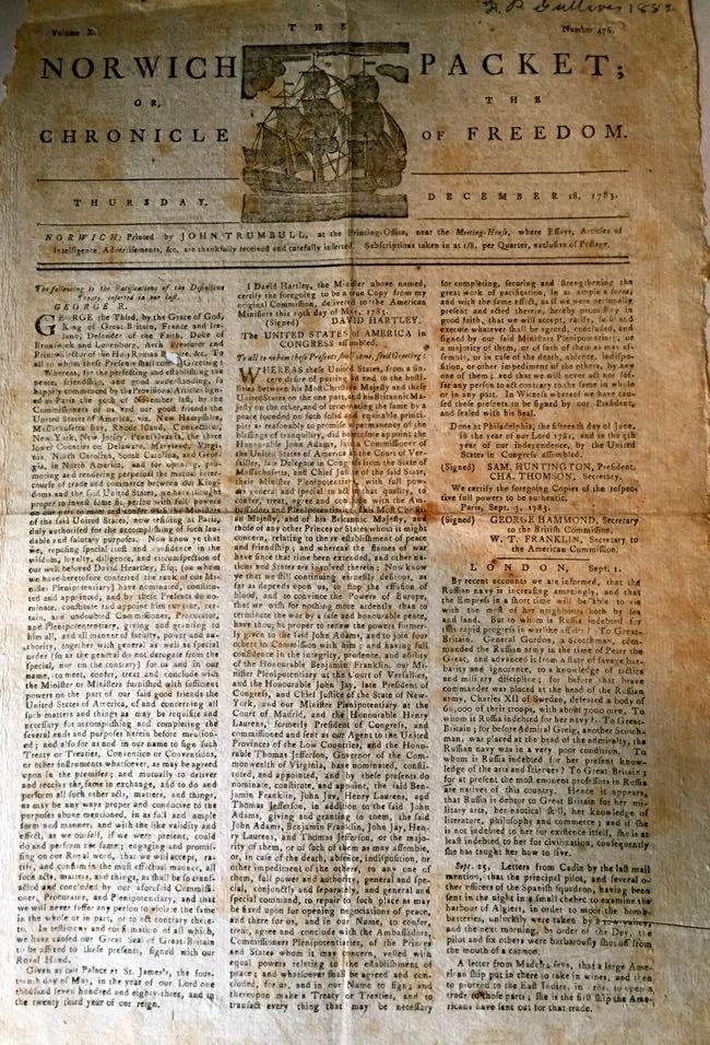 The Norwich Packet; or, The Chronicle of Freedom: [John Trumbull] (Printer and Publisher)