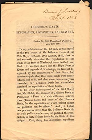 Jefferson Davis. Repudiation, Recognition, and Slavery: Walker, R. J.