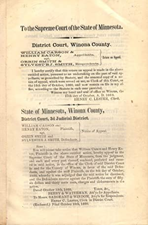 To the Supreme Court of the State of Minnesota. District Court, Winona County. William Carson &...