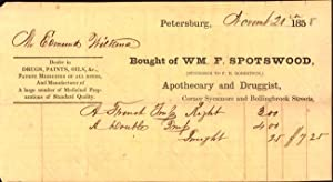 "1858 Petersburg Virginia Receipt ""Bought of Wm. F. Spotswood, (Successor to F. H. Robertson,) ..."