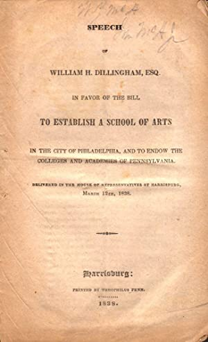 Speech of William H. Dillingham, Esq. In Favor of the Bill To Establish A School of Arts in the ...