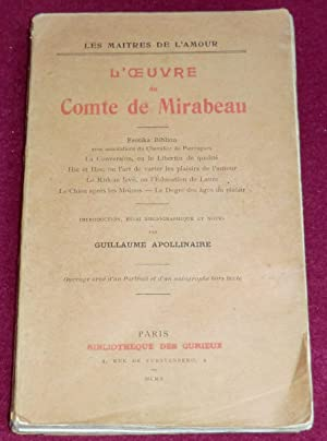L'OEUVRE DU COMTE DE MIRABEAU : Erotika: MIRABEAU (de) (Comte),