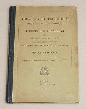 VOCABULAIRE TECHNIQUE Français-Allemand et Allemand-Français - TECHNISCHES: WERSHOVEN F. J.