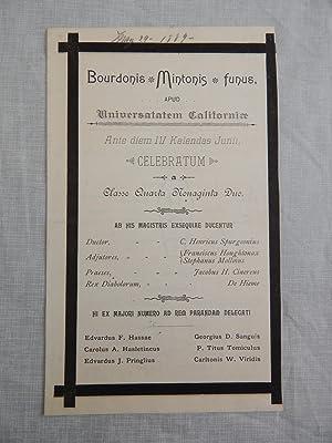 BOURDONIS MINTONIS FUNUS Apud Universatatem Californiae: University of California, Berkeley (...