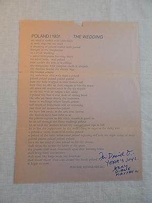 POLAND/1931: THE WEDDING: Jerome Rothenberg