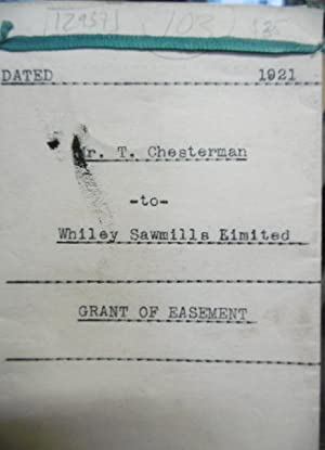 Grant of Easement, T Chesterman to Whiley