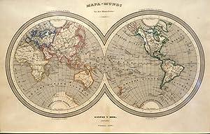 Mapa Mundi En Dos Hemisferios Gaspar Y Roig, Editores. Madrid, 1852.: ROIG, Gaspar Y