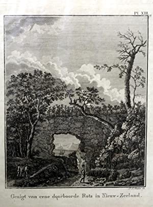 Gezigt Van Eene Doorboorde Rots in Niew-Zeeland (a Pierced Rock in New Zealand) Engraving.: KLAUBER...