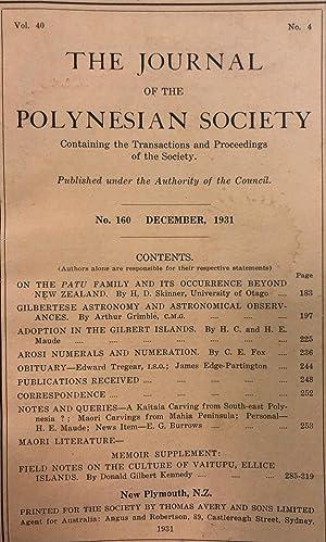The Journal of the Polynesian Society Vol 40 No 160: POLYNESIAN SOCIETY