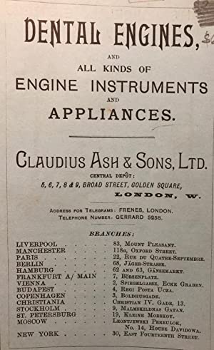 DENTAL ENGINES, AND ALL KINDS OF ENGINE INSTRUMENTS AND APPLIANCES. List E Early Dental Trade ...
