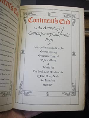 Continent's End; an Anthology of Contemporary California Poets