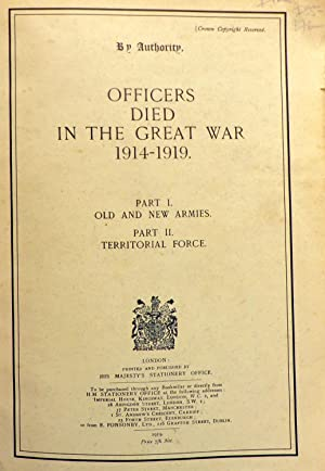 OFFICERS DIED IN THE GREAT WAR 1914-1919.
