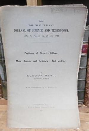 Pastimes of Maori Children. Maori Games and: Best, Elsdon