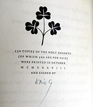 The Holy Sonnets of John Donne ; Introduction By Hugh l'A. Fausset, Engravings By Eric Gill.: ...