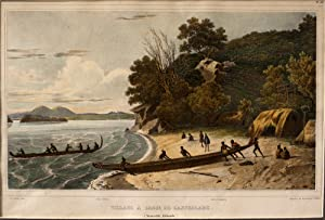 Village a L'Anse De l'Astrolabe (Nouvelle Zelande) - Lithograph: SAINSON, Louis Auguste ...