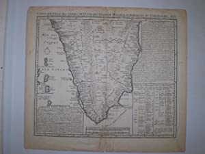 Carte Nouvelle des Terres de Cucan, de Canara, de Malabar, de Madura, et de Coromandel avec des ...