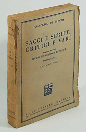 Francesco De sanctis Saggi e scritti critici: L. G. Tenconi,