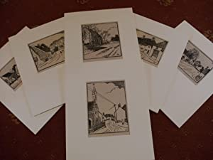 PAVENHAM, Bedfordshire. Linocuts. Six extremely rare, possibly: Mayes, Frank