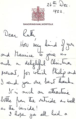 Autograph letter Signed from the Queen to: Queen Elizabeth II