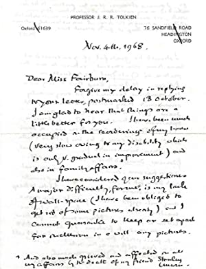 Autograph Letter Signed By Tolkien to Would-be: J.R.R. Tolkien
