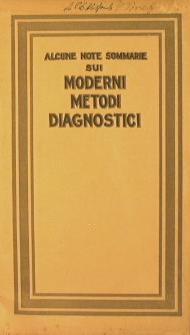 Alcune note sommarie sui moderni metodi daignostici
