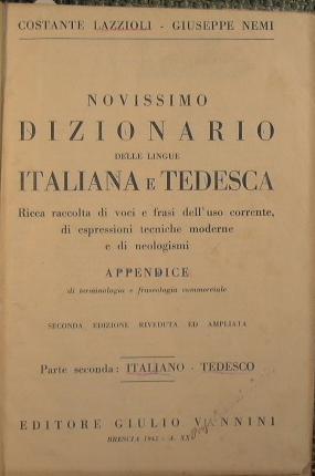 Nuovissimo dizionario delle lingue Italiana e tedesca: Lazzioli Costante -