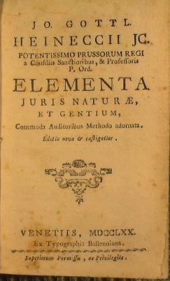 Jo. Gottl. Heineccii jc. Potentissimo Prussorum regi: Heinecke Johann Gottlieb